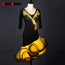 Cheap Latin Dance Dress For Ladies Custom-Made Newest Organza Wears Original Women Ballroom Present Stage Showing Dresses Y057