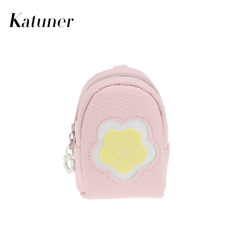 Katuner New Fresh Women Key Chain Coin Purses Leather Mini Flower Coin Purse For Girls Kids Children Wallet Sac Enfant KB019