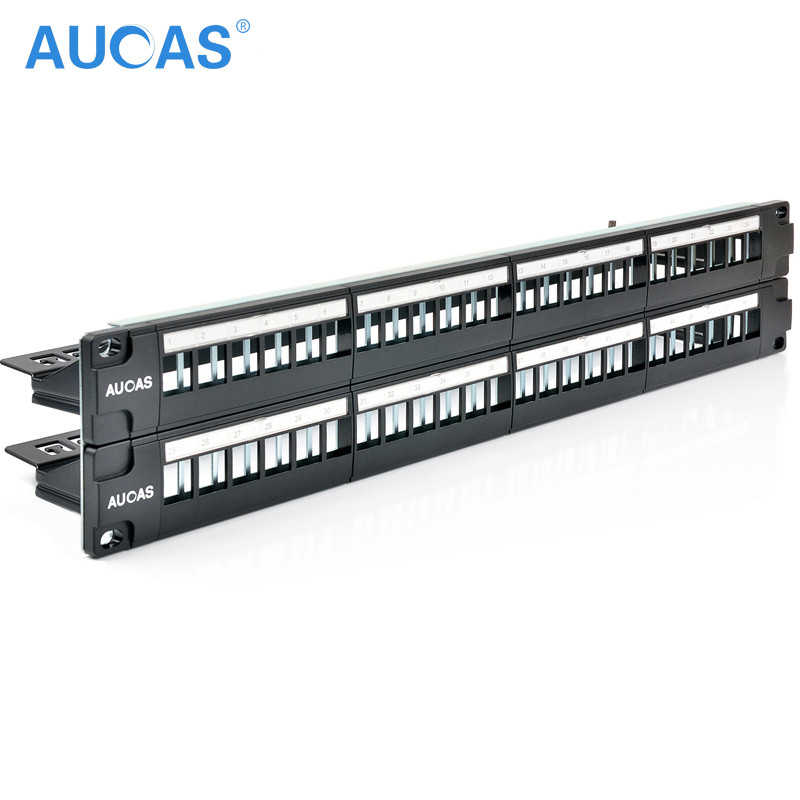 AUCAS 48 Ports Blank Patch Panel Unload Modular Patch Panel Blank Frame with cable manager bar unshielded for 180 degree module