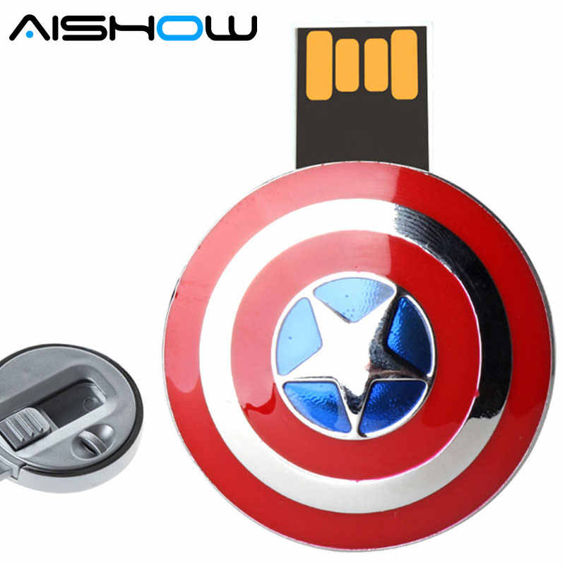 Usb flash drive Nieuwe aanbieding Captain America Shield pendrive U Disk 4G 8G 16G 32G USB Flash 2.0 Memory Stok u disk