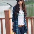 Осень-Весна Женщины Блузки новый 2016 мода Отложным Воротником С Длинными Рукавами Тонкий Клетчатую Рубашку Женщин топы Blusa Feminia Плюс размер