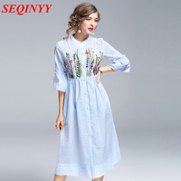 High End Mid Calf Dress Female Spring Summer 2017 Half Butterfly Sleeve Floral Embroidery Empire Sweet