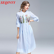 Runway Dress Midi Female Spring Summer 2017 Half Butterfly Sleeve Floral Embroidery Empire Sweet Brief Fashion New Dress
