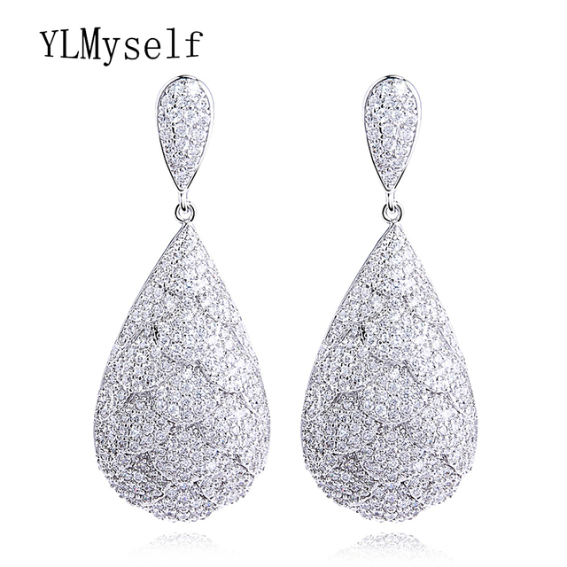 5cafa9224 2019 Top quality Dangle Earrings dress jewelry Copper brass Fish scales  design Cz Banquet Party earrings