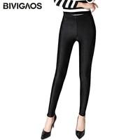 BIVIGAOS Winter Warm Gloss Leggings Slim Thicken Velvet Leggings Shiny Black Sexy Legging Pants For Women