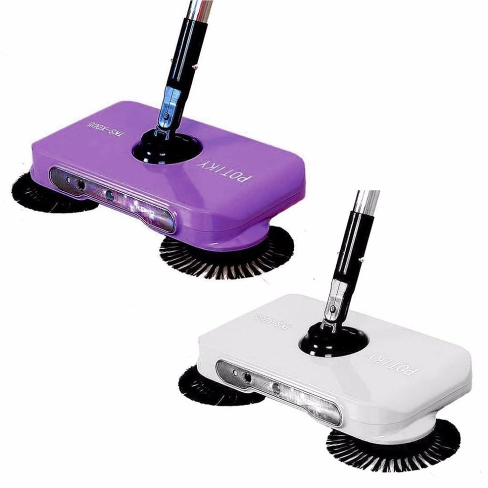 Ultra Silent Push-type Sweeping Machine Cleaner Sweep+ Wipe Dual Purpose Dustpan Set  With Light Home Broom Floor Sweeper