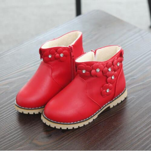 Girls Cotton Boots New Children Diamond Plus Cashmere Warm Flowers Shoes Kids Snow Shoes Flat Size 21-30