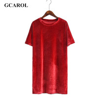 GCAROL 2017 Women Velvet Long T-shirt O-Neck Straight Cutting Smooth Tees High Quality  Oversize Casual Basic Tops For Ladies