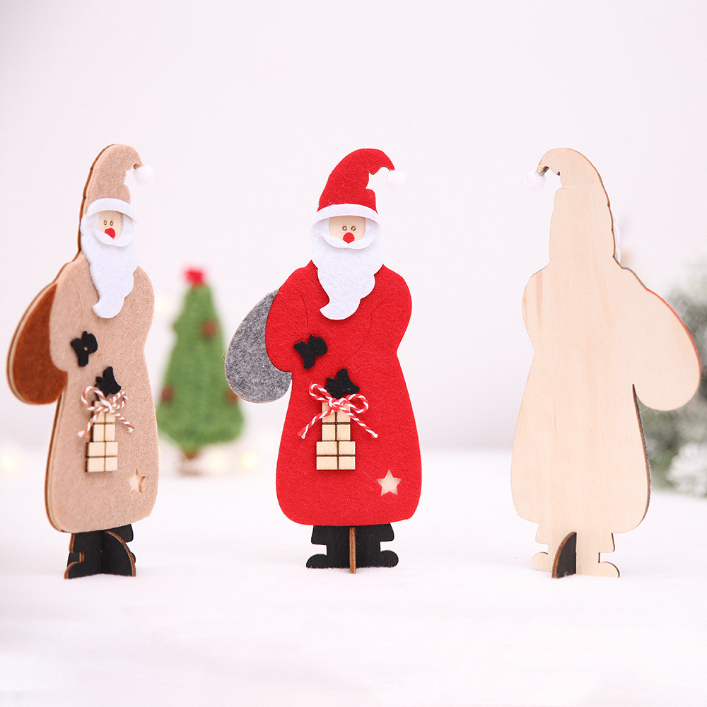 wooden christmas santa claus assembling crafts home decor ornaments