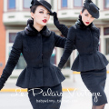 le palais vintage winter women 50's black peter pan collar peplum fitted wool coat elegant plus size 4xl manteau pinup jacket