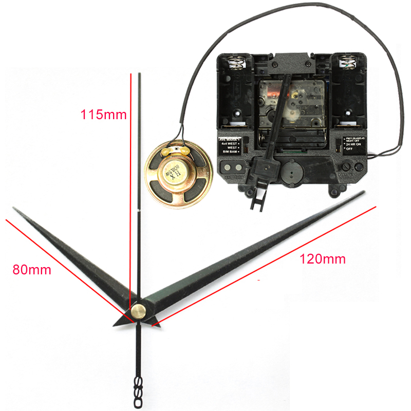R mouvement silencieux avec boîte à carillon de musique mécanisme à Quartz en plastique avec 2 aiguilles unités d'entraînement à pendule horloge à faire soi-même Kits d'accessoires