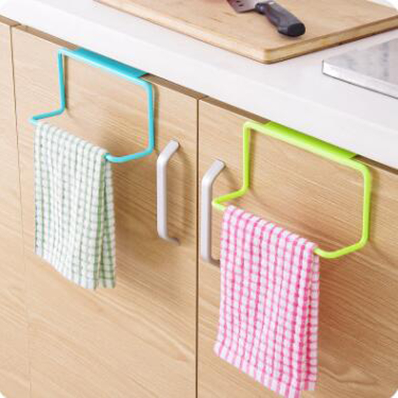1Pcs Towel Rack Kitchen Multi-purpose Hanging Holder Organizer Bathroom Cabinet Cupboard Hanger Door Back 10