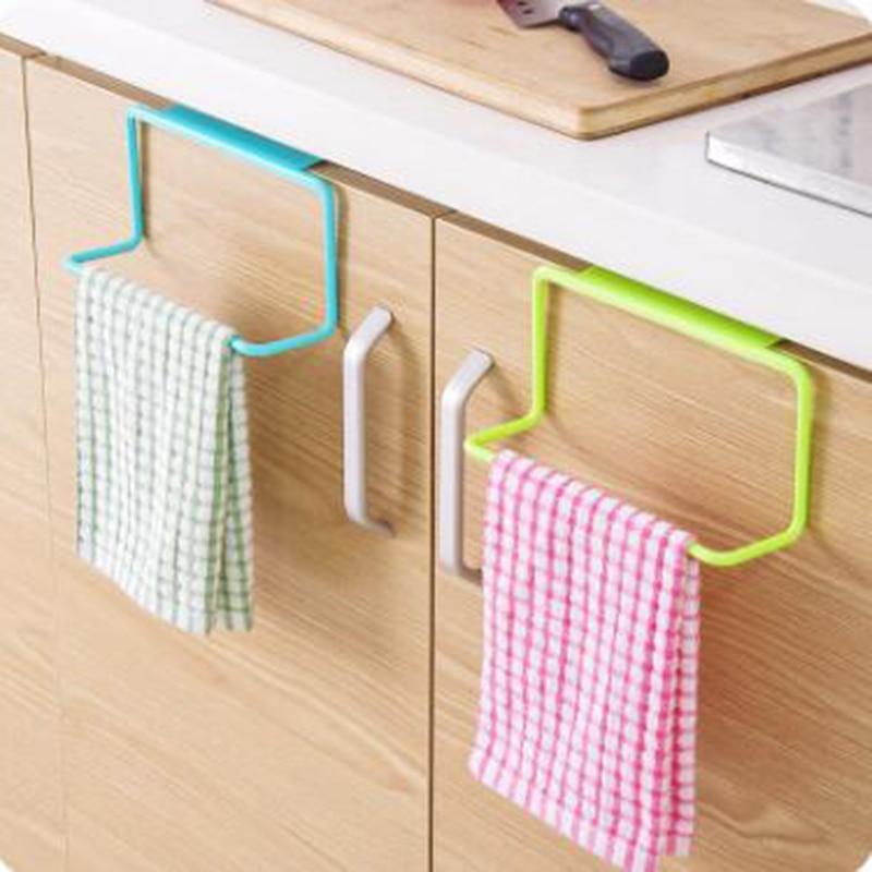 1Pcs Towel Rack Kitchen Multi-purpose Hanging Holder Organizer Bathroom Cabinet Cupboard Hanger Door Back 10