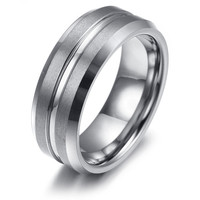 Mens Tungsten Ring Comfort Fit Rose Gold KR2345
