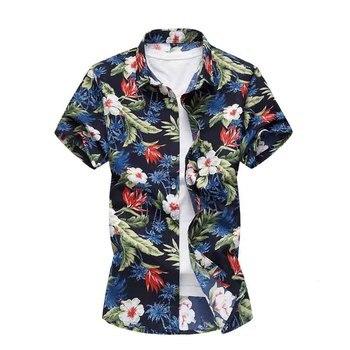 f40c3bd2fb1 Большие размеры 4XL 5XL 6XL 7XL мужские s рубашки летняя мужская одежда с  коротким рукавом дизайн цветочные рубашки для отдыха пляж гавайская руба.
