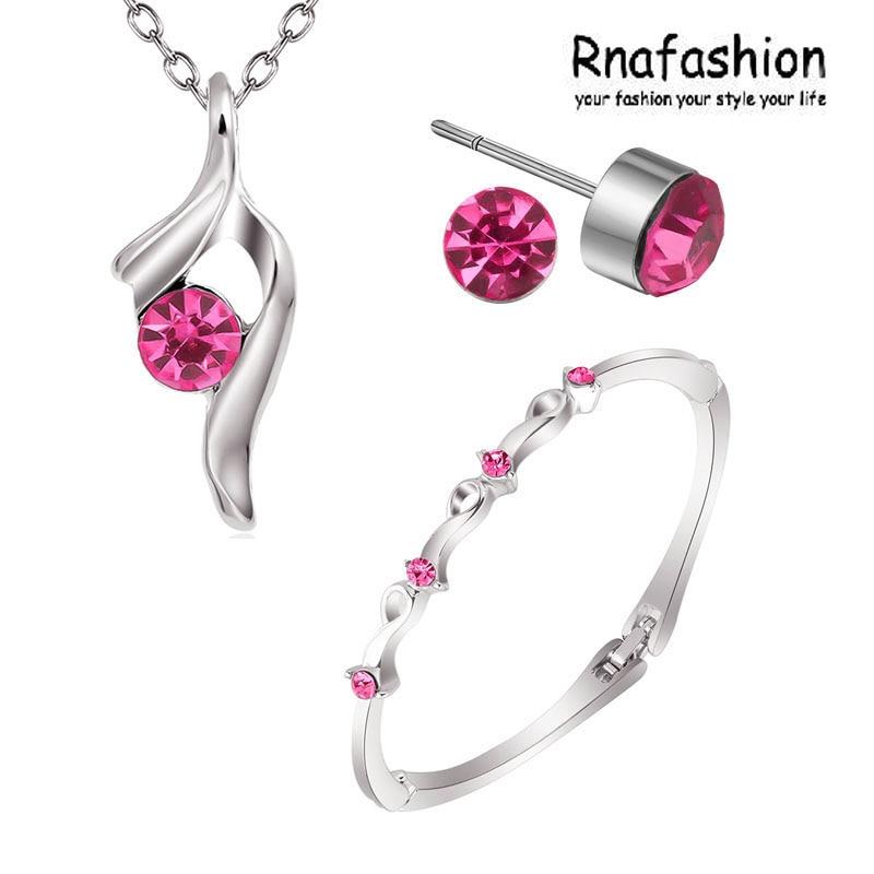 Hot Sale Promotion Fashion Silver Plated Austrian Crystal Necklace/Stud Earrings bracelet Wedding Jewelry 005+008+248