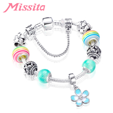 MISSITA Flower Series Bracelet with Blue Daisy Trendy Rainbow Beads Brand for Women Anniversary Party Gift
