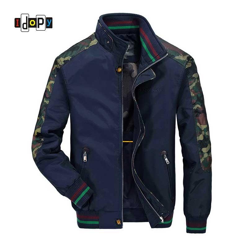 Idopy модные Для мужчин S камуфляж Курточка бомбер выдалбливают с длинным рукавом камуфляж Бейсбол Куртки и Пальто для будущих мам для Для муж...