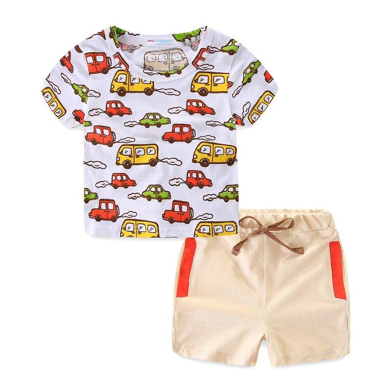 MudKingdom/Для мальчиков ясельного возраста одежда автомобиль грузовик короткий рукав футболки и эластичный пояс Короткие штаны на шнуровке ле...