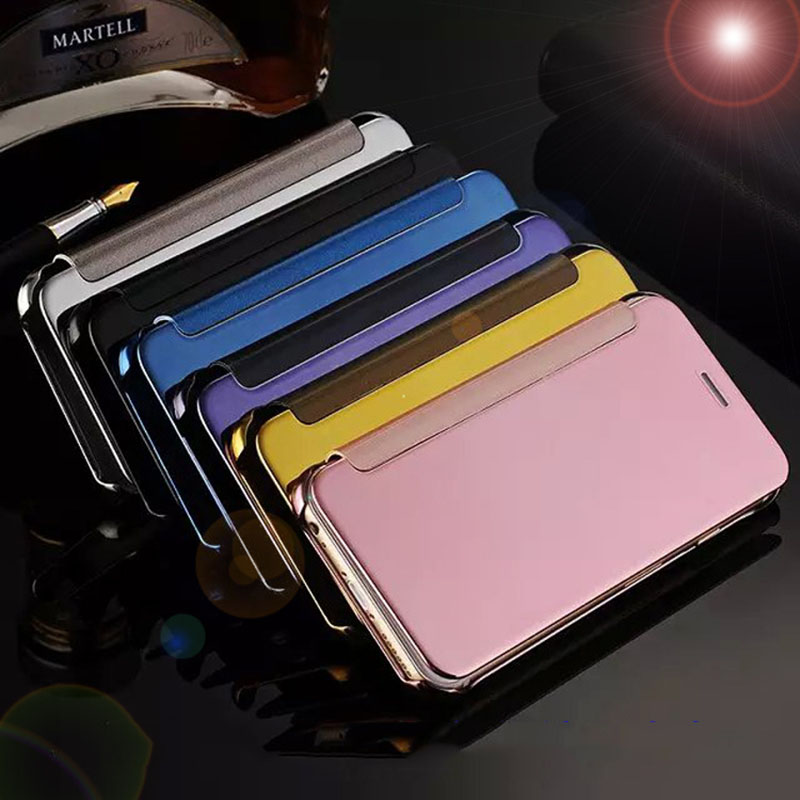For Samsung Galaxy Case S6 Luxury Smart Flip Slim View Electroplating Mirror Hard Clear Cover For Galaxy S5 S6Edge ON5 J5 A3 A5
