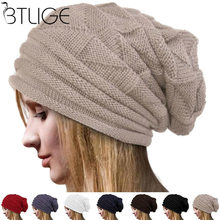 76e1323ad11 Women Knit Oversize Baggy Slouchy Beanie Warm Winter Hat Ski Chic Cap Skull  Fresh Fashion Autumn