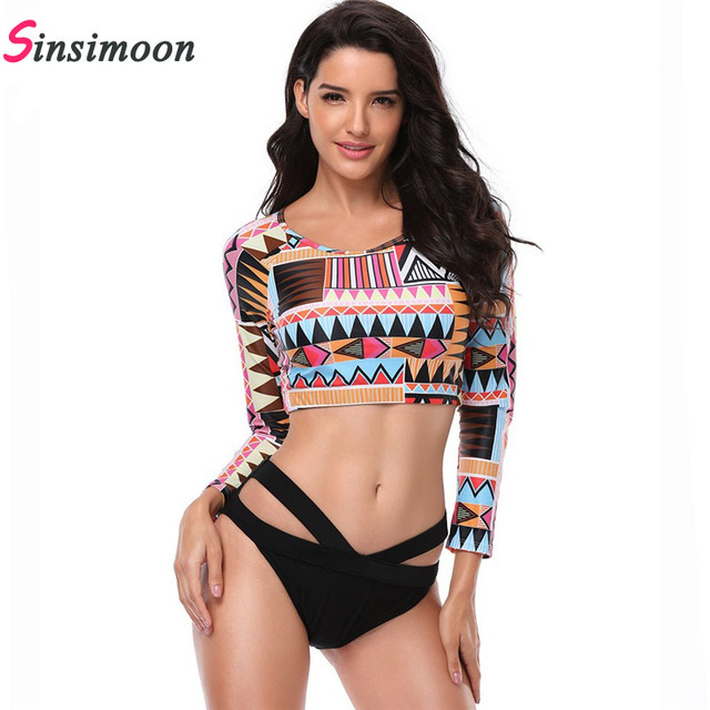 e61df63420d30 Women Sexy Long Sleeve Bikini Set 5XL Plus Size Bathing Suit Swimsuit  Swimwear Black High Cut