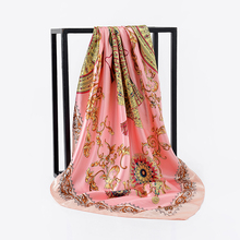 Brand Flowers Ladies Silk Scarf New Abstract Painted Floral Pattern Scarves Shawls For Women Rose Square Bandana chic rose floral pattern voile scarf for women