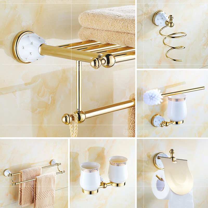 Luxury Crystal Bathroom Pendant Gold Towel Paper Holder Wall Mount Toothbrush Holder Metal Soap Dish Ceramic gold bathroom set image
