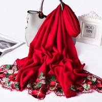 Flower Embroidery 100% Wool Scarf Women Luxury Warm Fine Wool Red Shawls and Wraps Scarves Ladies Winter Autumn Pashmina