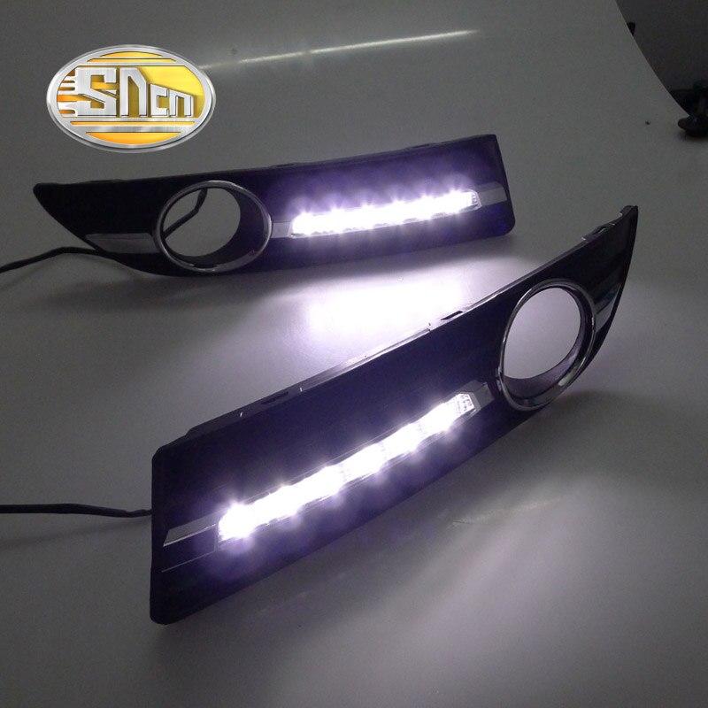 SNCN светодиодные фары дневного света для Фольксваген Поло 9n3 2005 - 2010,Автомобильные аксессуары Водонепроницаемый ABS DRL туман Лампа украшение