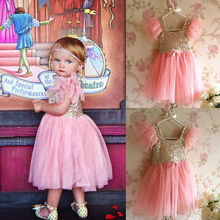 Bling Pinks Princess Baby Kids Girls Dress Party Gown Formal Fancy Dresses 2-7Y