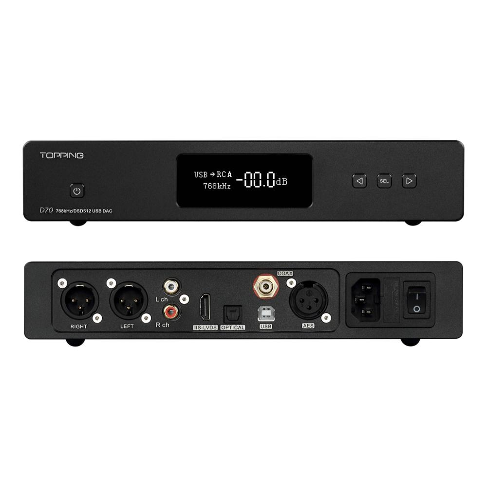 <font><b>TOPPING</b></font> <font><b>D70</b></font> New Flagship dual AK4497 DAC HIFI Audio Decoding USB DAC support DSD512 PCM 32bit/768kHz AES/USB/Optical/Coaxal image