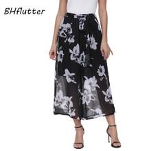 Bhflutter 2018 nueva llegada del verano Pantalones mujeres elástico cintura  casual Pantalones anchos floral imprimir negro gasa . 3a1dbae0e5ad