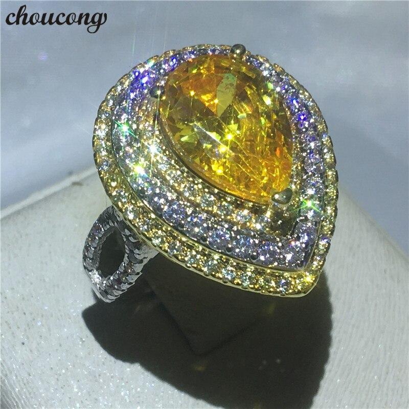 Choucong Luxo Feminino Jóias Pear cut 5A anel de Cristal de zircão Branco Anéis da Faixa Do Casamento de Noivado De ouro cheias Para As Mulheres bijoux