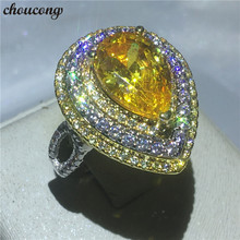 Choucong joyería de lujo femenina PEAR cut 5a ZIRCON cristal anillo oro blanco lleno de compromiso de banda de boda Anillos para las mujeres bijoux