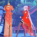 Vocaloid Megurine Luka Cosplay Costumes High Low Asymmetric Red Canary Cheongsam  Fashion Outfit Clothing Carnival Christmas