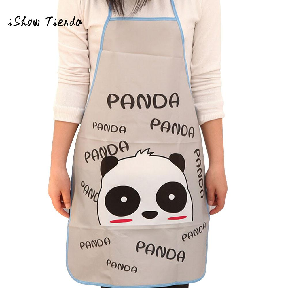 Women Waterproof Cartoon Animals Panda Kitchen Cooking Bib Apron Sleeveless Anti-oil Waist Bib lovely kitchen cooking Accessory cartoon lion pattern waterproof bib green yellow