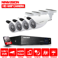 Super HD 4CH 4MP 2560*1440P Outdoor Surveillance Kit 36 leds White Metal Bullet Waterproof CCTV Camera Security System With 2TB