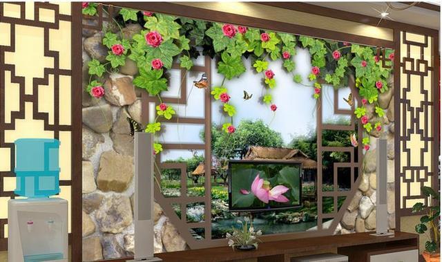 Free Shipping Modern Wall 3d Murals Wallpaper HD Chinese Garden Landscape 3D Mural For Tv