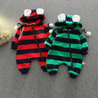 2017 Autumn Hooded Rompers For Newborns Baby Cotton Striped Warm Outerwear Infant Girl Boy Jumpsuit Child