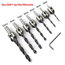1Set 3mm-10mm/3mm-6mm HSS 5 Flute Countersink Wood Drill Bit+Quick Change Hex Shank Screw