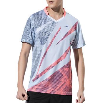 Nowe koszulki do badmintona męskie sportowe koszulki tenisowe koszulki do tenisa stołowego koszulki sportowe do tenisa koszulka do biegania tanie i dobre opinie Koszule Dzianiny Poliester spandex Krótki ZISURON Anti-shrink Przeciwzmarszczkowy Oddychająca Anty-pilling Szybkie suche