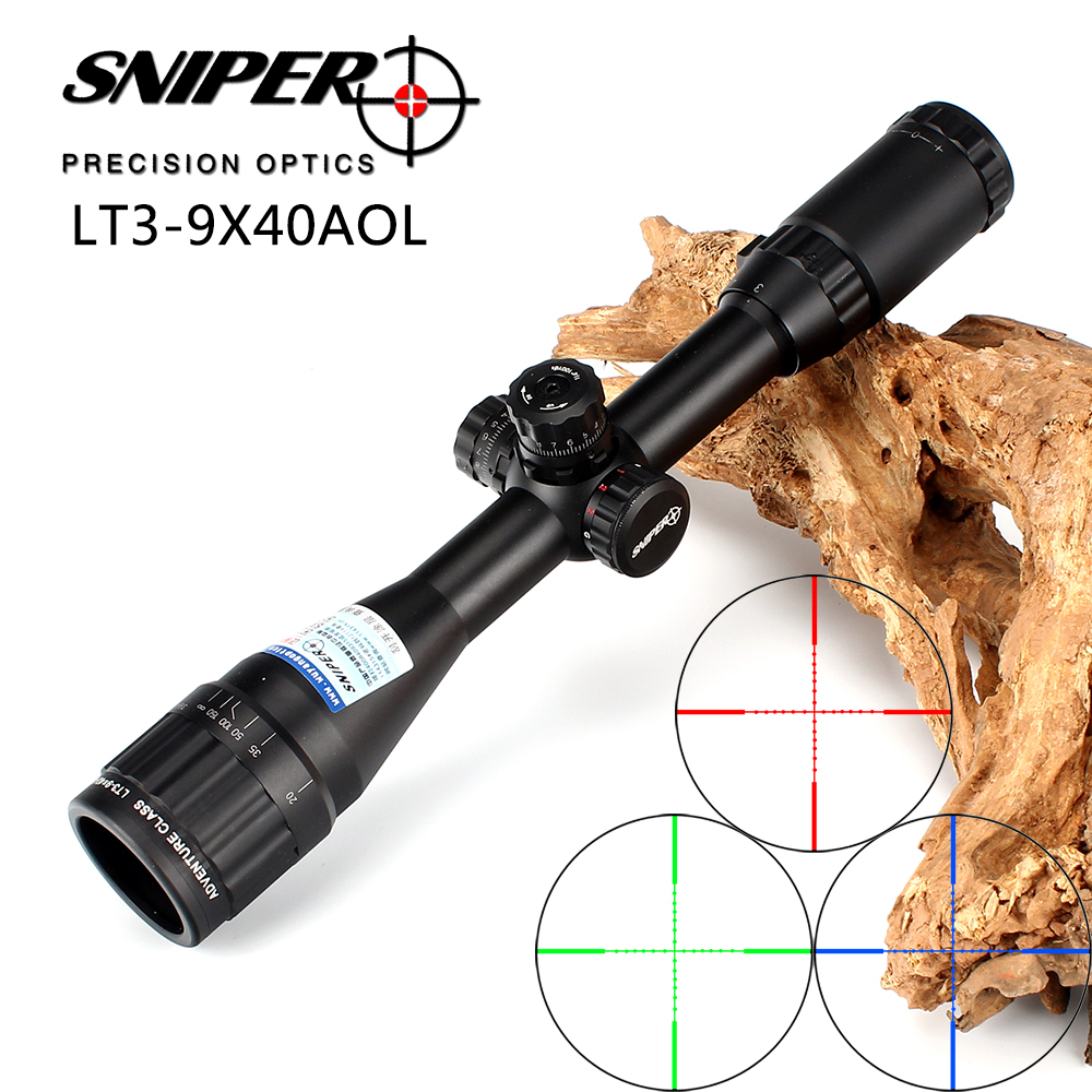 Снайпер 3-9X40 AOL 1 дюймов полный Размеры тактический оптический прицел осветить Mil-точка прицел блокировки сброс Охота прицел