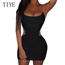 TIYE Summer Sexy Spaghetti Strap Mini Dresses Women Sleeveless Hollow Out Backless Club Party Bodycon Pencil Dress Vestidos