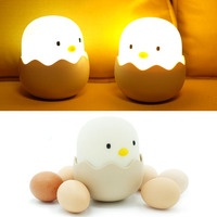 Adjustable Warm White Cute Chick Night Light Cartoon Toys Chicken Egg Shell Rechargeable Control Bedroom Lamp
