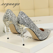 2019 Spring/Autumn Women Pumps High Thin Heel Metal Pointed Toe Sexy Ladies Bling Bridal Wedding Women Shoes Silver High Heels spring summer women high heels shoes pointed thin heel matel heels pumps elegant sexy heeled carved metal wedding shoes g1723 1