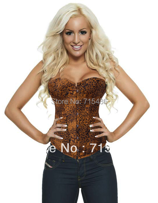 Good Quality Free Shipping Leopard Print Strapless Denim Corset with Front Busk Closure  Lace-up matching G-string
