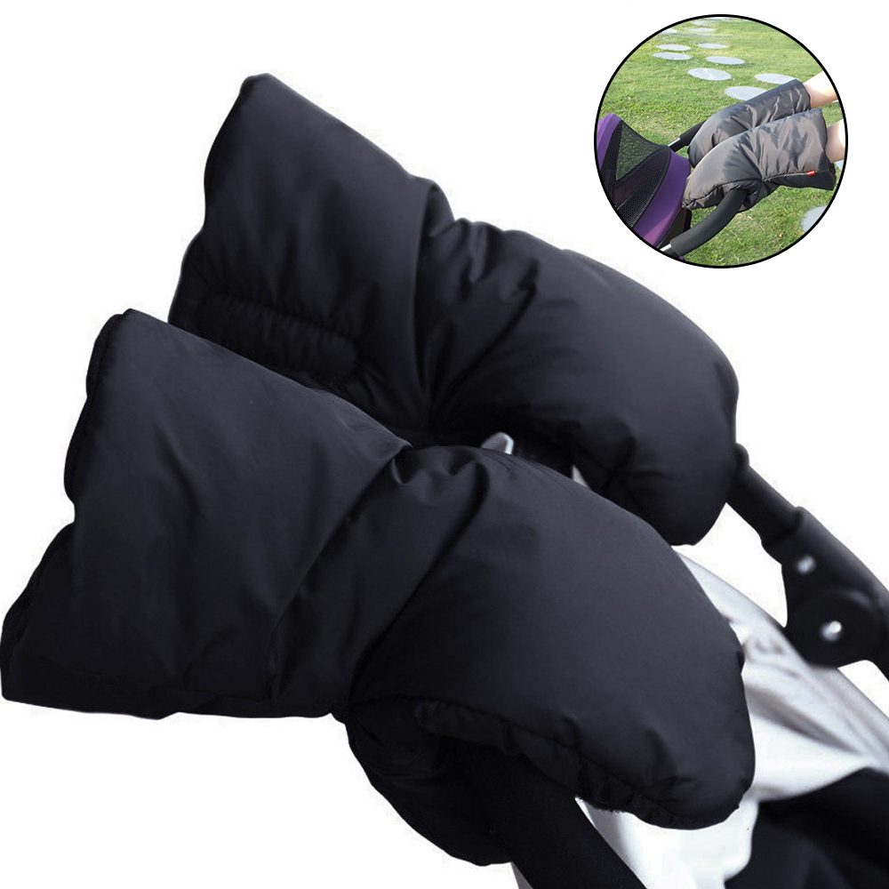 Thicken Warm Baby Winter Stroller Hand Muff Stroller Accessories Waterproof Kids Pushchair Hand Cover Fur Fleece Gloves Mittens