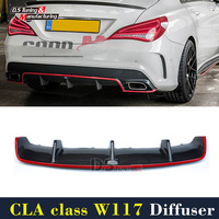 Mercedes W117 Diffuser Lip Carbon Fiber Car Styling for Benz CLA Class Red Line New Package CLA45 2013 2014 2015 2016 2017