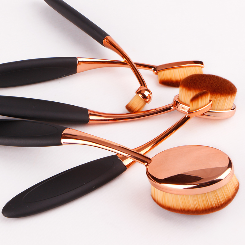 Professional 10 pcs set Rose Gold Oval Makeup Brushes set Super Soft Makeup Brush Set Foundation Powder Brush Comestic Tools Kit in Eye Shadow Applicator from Beauty Health